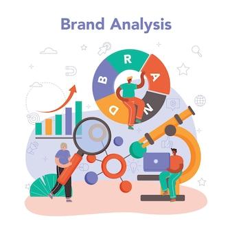 Gerente de conceito de gestão de marca, criando e desenvolvendo