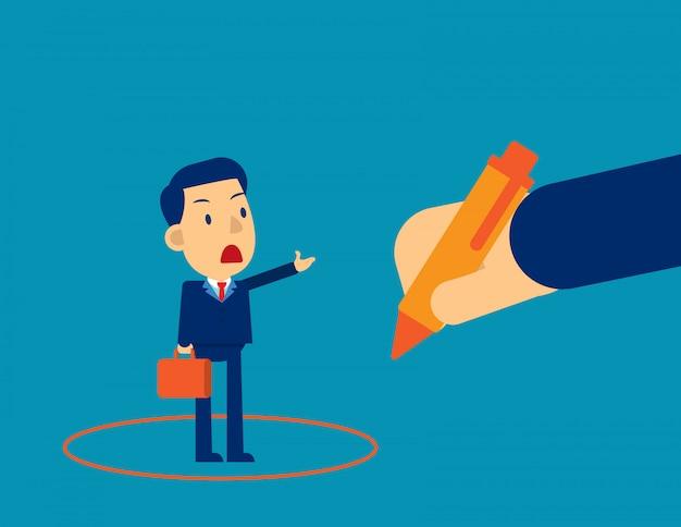 Gerente de desenho de círculo em torno do empresário. bata o empregado