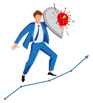 Gerente de empresário com escudo contra coronavírus. gestão de crises nos negócios durante epidemia
