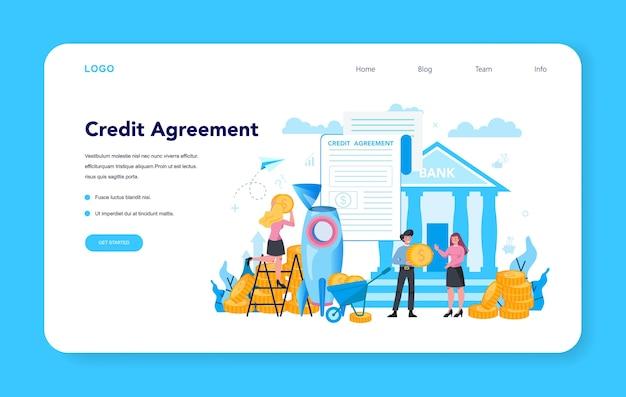 Gerente de empréstimo, banner da web ou página de destino do contrato de crédito.
