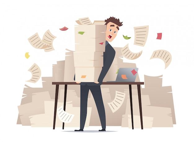 Gerente de escritório com excesso de trabalho, sentado à mesa sobre ilustração de muitos documentos