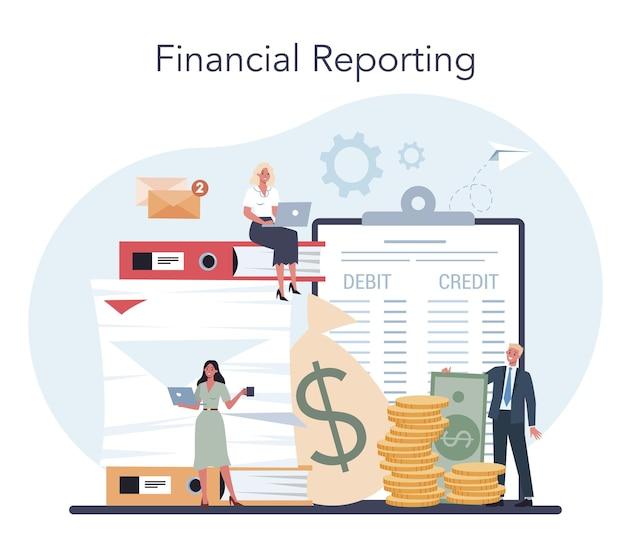 Gerente de escritório de contabilidade. contador profissional. conceito de cálculo de impostos e relatórios financeiros. caráter de negócios fazendo operação financeira. ilustração vetorial