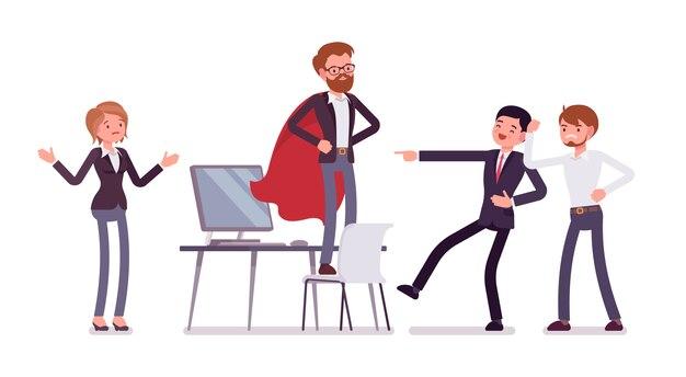 Gerente de escritório, fingindo ser um herói