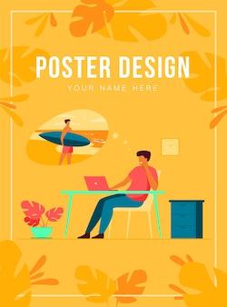 Gerente de escritório sonhando com férias em ilustração vetorial plana de mar. homem de negócios de desenho animado relaxando durante o trabalho e pensando em surfar