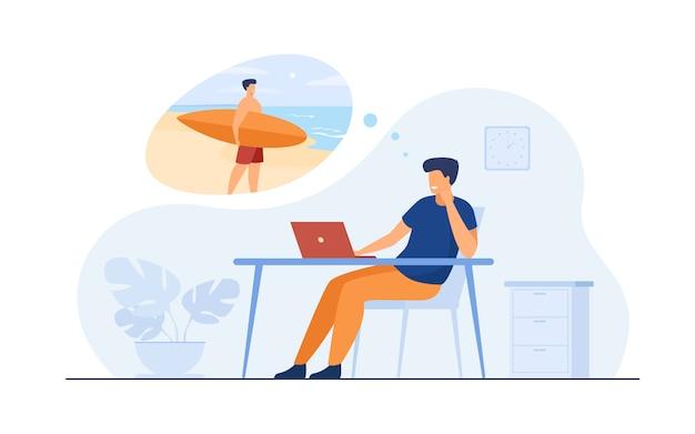 Gerente de escritório, sonhando com férias no mar
