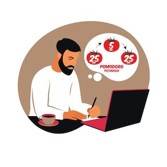 Gerente de homem trabalhando com computador usando gerenciamento de tempo. conceito de técnica pomodoro. vetor. apartamento.