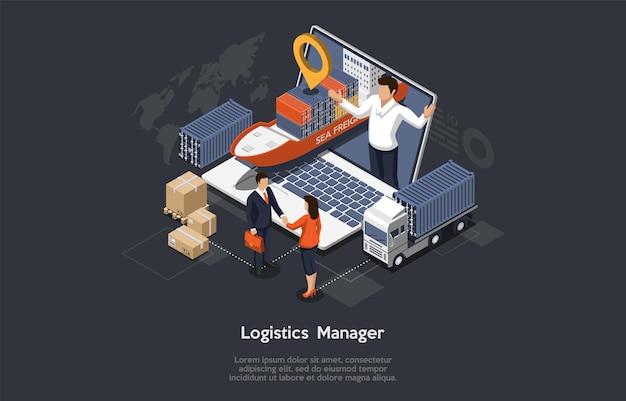 Gerente de logística isométrica e conceito de armazém
