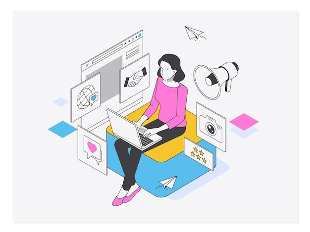 Gerente de mídia social ou influenciador no trabalho