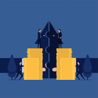 Gerente de plano de negócios mesclando empresa e lucro com uma visão