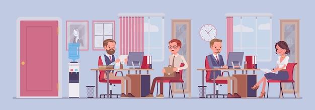 Gerente de rh de espaço de trabalho de escritório comercial entrevistando candidatos a emprego funcionários da empresa trabalhando