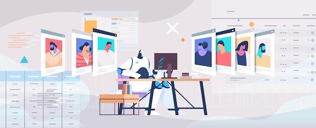 Gerente de rh do robô escolhendo currículo vitae com foto e informações pessoais