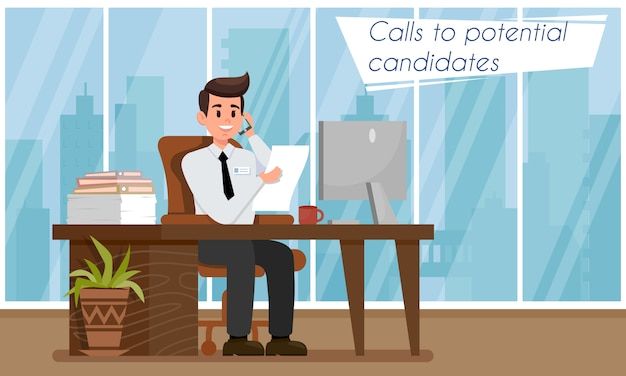 Gerente de rh ou recrutamento chama ao candidato.