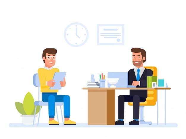 Gerente de rh, reunião de candidato a emprego no escritório do diretor.