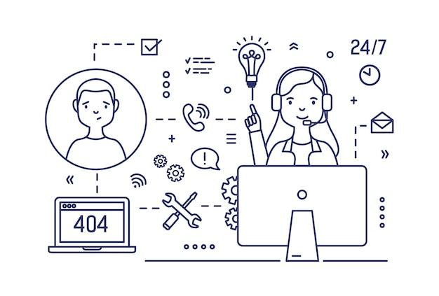 Gerente de suporte técnico usando fones de ouvido com microfones sentado em frente ao computador e consultando clientes