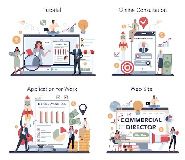 Gerente de vendas ou diretor comercial de serviço online ou conjunto de plataforma