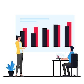 Gerente discute com o funcionário sobre informações de dados de metáfora do infográfico.