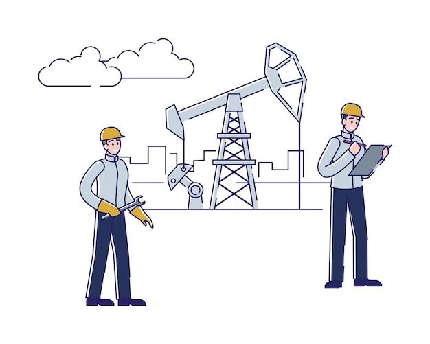 Gerente e verificação do trabalhador e serviço do óleo de trabalho