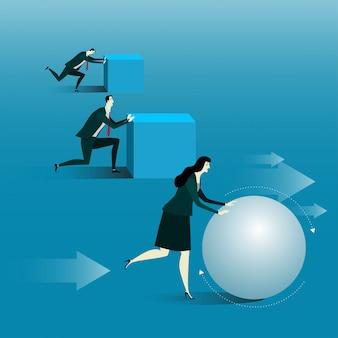 Gerente estar rolando uma bola ou tentar uma tarefa difícil.