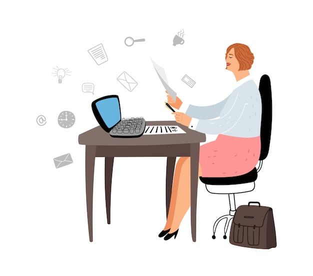 Gerente feminina no trabalho. personagem de assistente social. mulher cartoon trabalha com ilustração vetorial de documentos