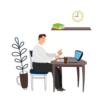 Gerente no trabalho. homem se senta à mesa e trabalha com ilustração vetorial de documentos