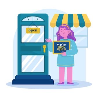 Gerente reabrindo sua loja local