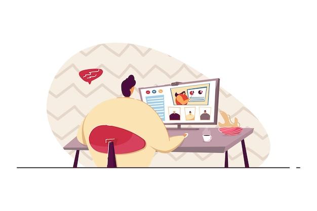 Gerente usando computador para reunião de videoconferência com ilustração de colegas