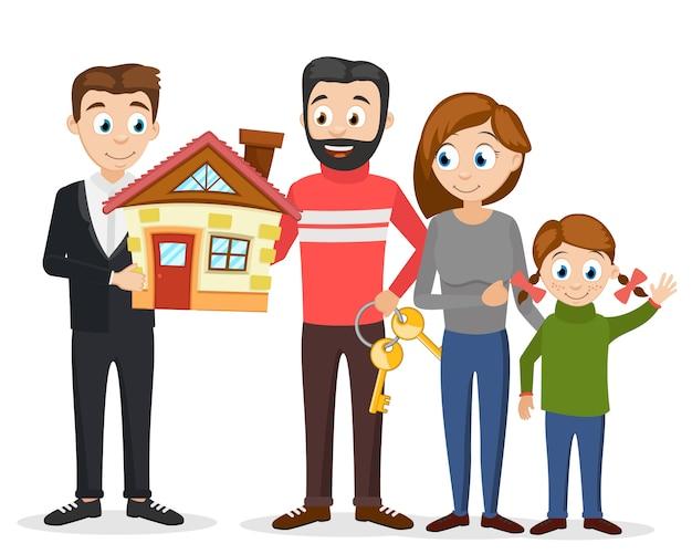 Gerente vendeu a nova casa para uma jovem família em um branco.