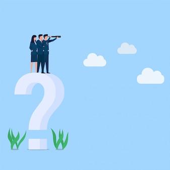 Gerente ver longe na grande metáfora do ponto de interrogação da visão. ilustração do conceito plano de negócios.
