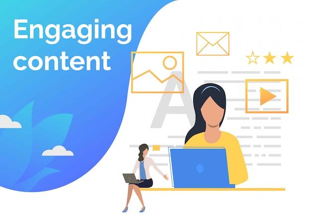 Gerentes de conteúdo criando conteúdo