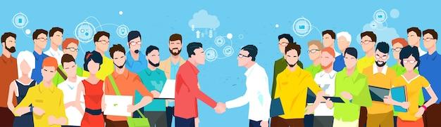 Gerentes de equipe de pessoas de negócios agitar mão banner