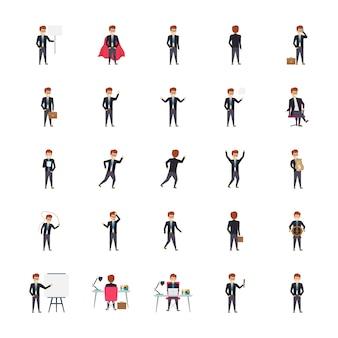 Gerentes em diferentes poses e ilustrações de emoções