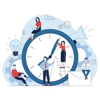 Gerentes que ajustam ponteiros do relógio
