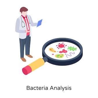 Germes em ilustração isométrica de lupa da análise de bactérias