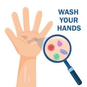 Germes em uma mão suja. bactérias sob lupa, lavagem das mãos e ilustração de campanha de higiene