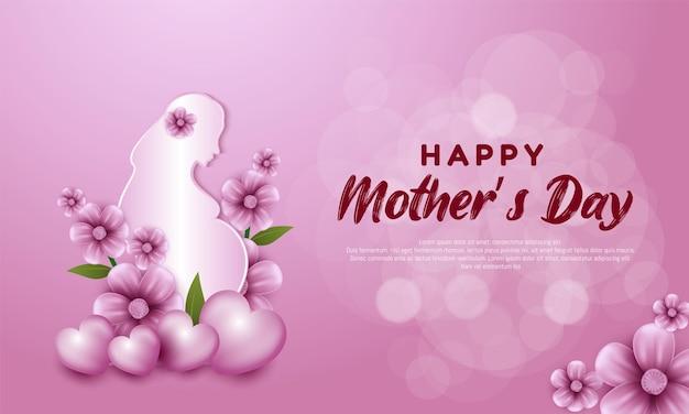 Gestantes com flores para feliz dia das mães