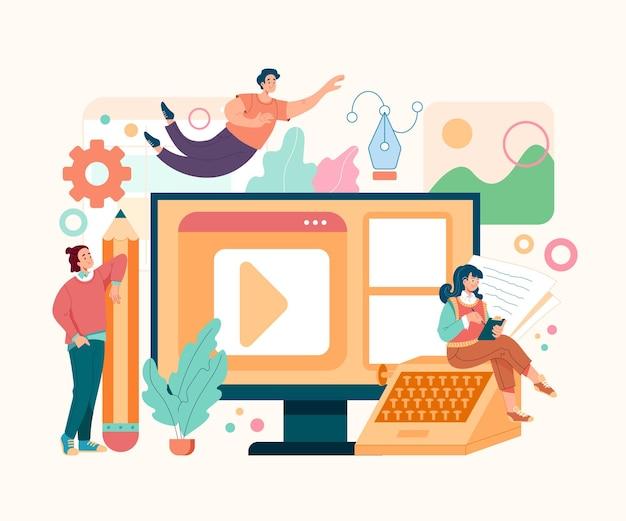 Gestão de conteúdo, jornalismo, promoção, blogging, informação, mídia social, cms, conceito