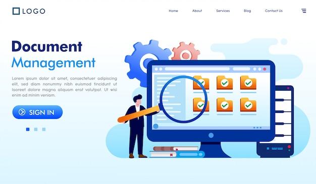 Gestão de documentos página de destino site ilustração vector