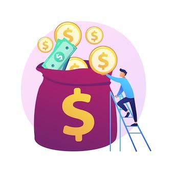 Gestão de finanças. avaliação de orçamento, educação financeira, ideia de contabilidade. financiador com dinheiro, economista segurando personagem de desenho animado de moeda de ouro.