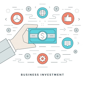 Gestão de negócios e investimento e design de linhas.
