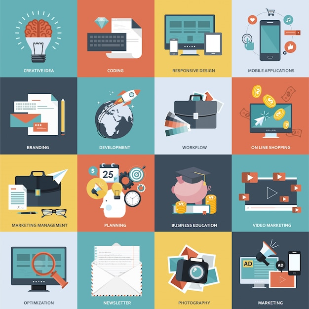Gestão de negócios e tecnologia conjunto de ícones