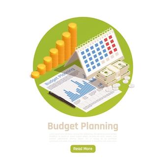 Gestão de patrimônio. planejamento de orçamento com calendário isométrico
