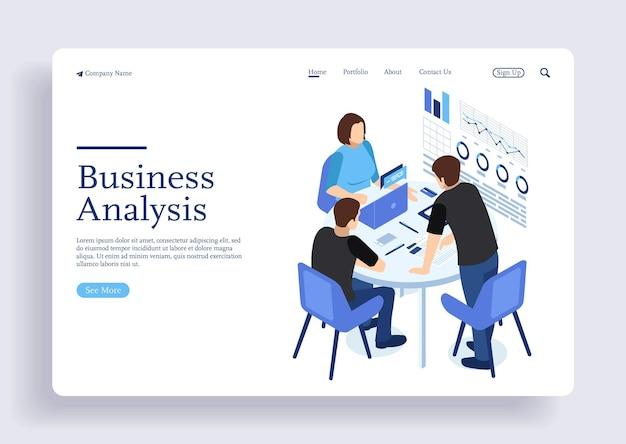 Gestão de projetos e análise de estratégia de relatório financeiro conceito isométrico de equipe de consultoria