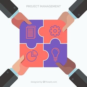 Gestão de projetos e conceito de trabalho em equipe em estilo simples