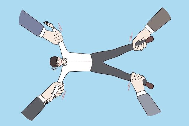 Gestão de recursos humanos e conceito de valor. mãos de headhunters estendendo valioso funcionário experiente em diferentes direções sobre a ilustração vetorial de fundo azul