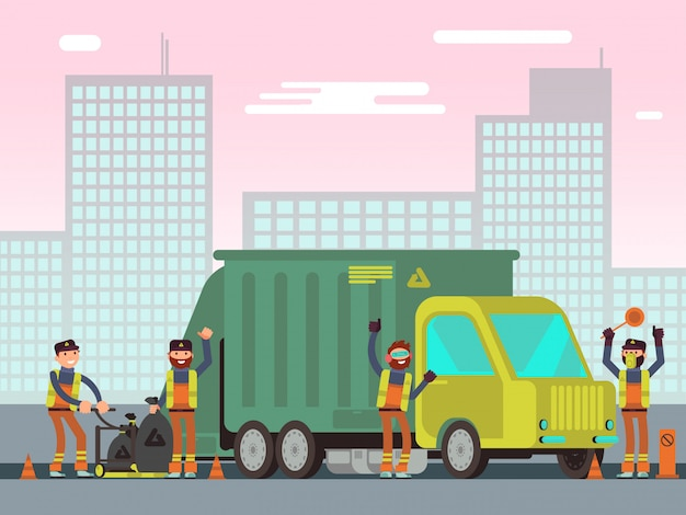 Gestão de resíduos e coleta de lixo da cidade para reciclagem conceito de vetores com trabalhadores de limpeza