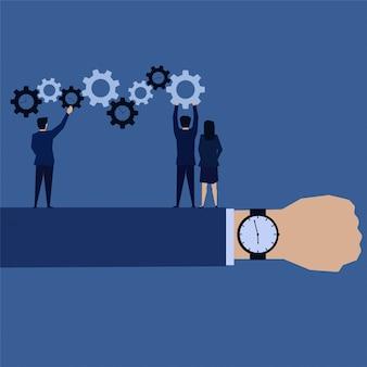Gestão de tempo de equipe de negócios colocar tempo de planejamento de engrenagens