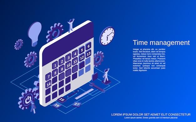 Gestão do tempo, ilustração do conceito de plano isométrico de planejamento de negócios