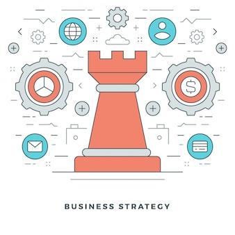 Gestão estratégica de negócios e design de ícones de estilo de linha.
