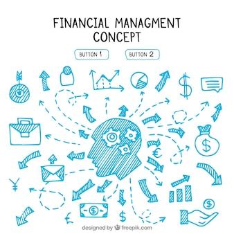 Gestão financeira com elementos desenhados à mão