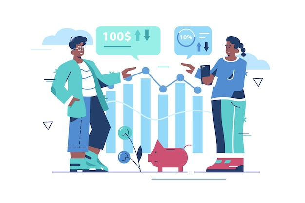 Gestão financeira com ilustração de pessoas da equipe.